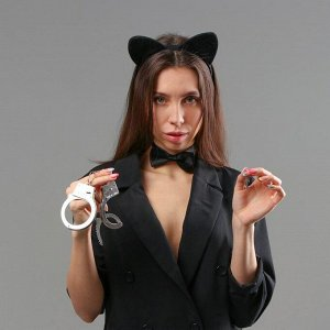 Карнавальный набор «Киса», ободок, бабочка, наручники