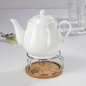 Чайник заварочный «Эстет», 1100 мл, 24?13,5?21 см, с подогревом, на металлической подставке