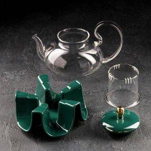 Чайник заварочный «Элегия», 600 мл, со стеклянным ситом и подставкой для подогрева, цвет изумруд