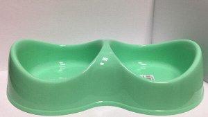 Миска пластиковая двойная Бисквит 0,2л бирюзовая