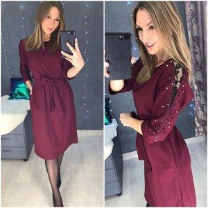 Платье, цвет: бордовый