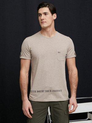 Фуфайка (футболка) муж BeGood SS21MJ234A Safari бежевый меланж