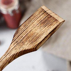 Ложка-лопатка деревянная, обожженная, 16х4 см, массив ясеня