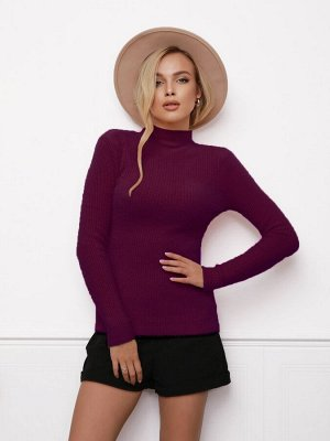 Бордовый фактурный свитер-травка с высоким горлом