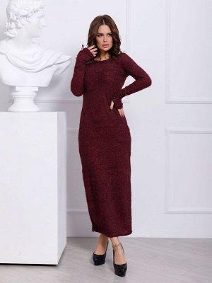 Бордовое платье макси длины с карманами