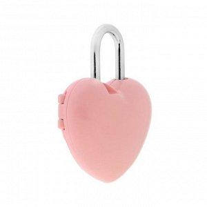 """Замок навесной кодовый """"Сердце"""", цвет розовый"""