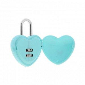 """Замок навесной кодовый """"Сердце"""", цвет голубой"""