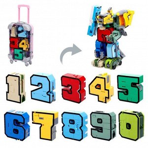 Игровой набор «Робоцифры», трансформируется, в чемодане от 0 до 9, цвет розовый