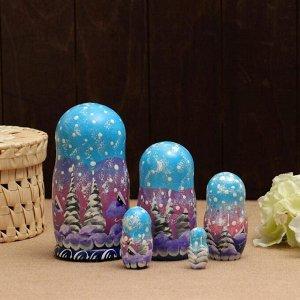 Матрёшка «Пейзаж панорама голубая», 5 кукольная, 17 см
