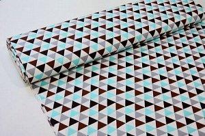Ткань Сатин - Треугольники бирюзовый/коричневый/серый 0,5*1,6м