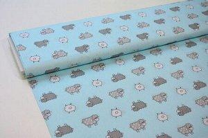 Ткань Сатин - Барашки на голубом фоне 0,5*1,6м