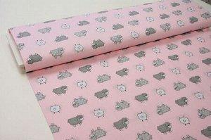 Ткань Сатин - Барашки на розовом фоне 0,5*1,6м