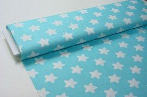Ткань Сатин - Звёзды (большие) белые на голубом фоне 0,5*1,6м