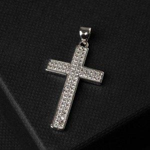 """Подвеска """"Крестик"""" с обрамлением, стразы в два ряда, цвет белый в серебре, L=3,5 см"""