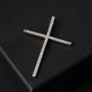 """Подвеска """"Крест"""" со стразами в один ряд, лаконичный, цвет белый в золоте, L=4,1 см"""