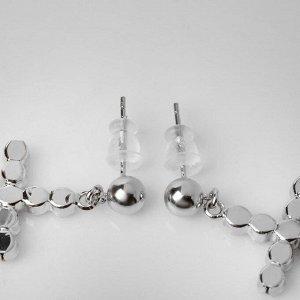 """Серьги со стразами """"Крестики"""" бусинки, цвет белый в серебре"""