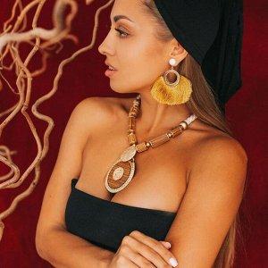 """Кулон на шнурке """"Магия"""" деревянные вставки, цвет коричневый в золоте, 50см"""