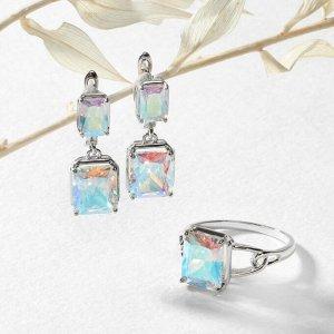 """Гарнитур 2 предмета: серьги, кольцо, торжество """"Фианит"""" родирование, цвет радужный, 19-19,5"""