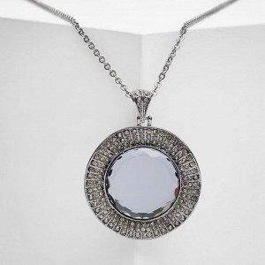 """Кулон """"Империя"""" круг, цвет серый в сером металле, 65 см"""