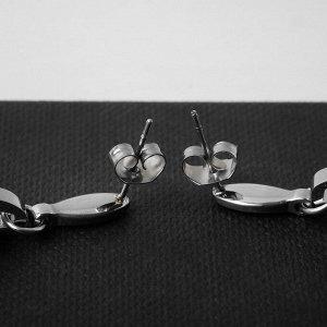 """Серьги керамика """"Овал"""" двойной, цвет белый в серебре"""