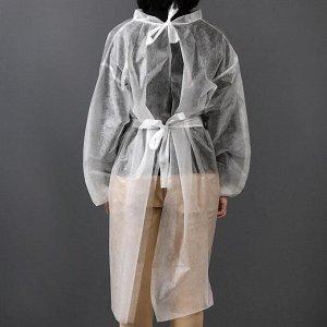 Халат одноразовый на липучках, манжета на резинке 25 г/м2 110 см размер 50-52