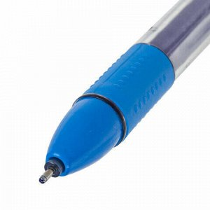 """Ручка гелевая с грипом STAFF """"College"""", СИНЯЯ, корпус прозрачный, игольчатый узел 0,6 мм, линия письма 0,3 мм, 143015"""