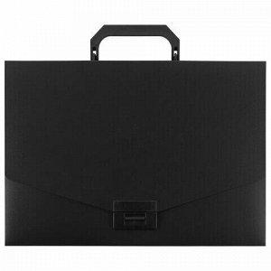 Портфель пластиковый STAFF А4 (320х225х36 мм), без отделений, черный, 229241