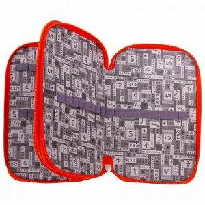 Пенал ЮНЛАНДИЯ, 2 отделения, ламинированный картон, тканевый торец, 19х11 см, Лисенок, 228259