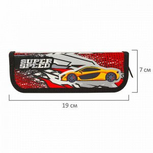"""Пенал ЮНЛАНДИЯ, 1 отделение, ламинированный картон, 19х7 см, """"Super Speed"""", 229137"""