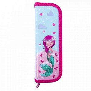 """Пенал ЮНЛАНДИЯ, 1 отделение, ламинированный картон, 19х7 см, """"Mermaid"""", 229142"""