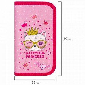 """Пенал ЮНЛАНДИЯ, 2 отделения, ткань, 19х11 см, """"Little princess"""", 229162"""