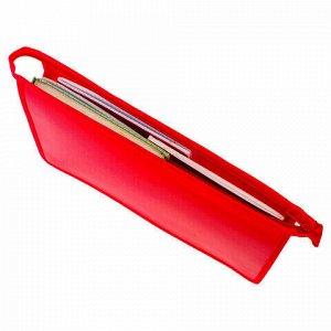 Папка для тетрадей А4 ПИФАГОР, пластик, молния сверху, один тон, красная, 228211