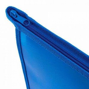 Папка для тетрадей А4 ПИФАГОР, пластик, молния сверху, один тон, синяя, 228212