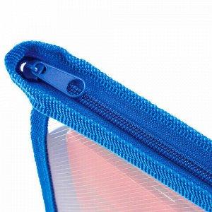 Папка для тетрадей А5 ПИФАГОР, пластик, молния сверху, прозрачная, синяя, 228221
