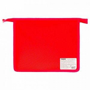 Папка для тетрадей А5 ПИФАГОР, пластик, молния сверху, один тон, красная, 228222
