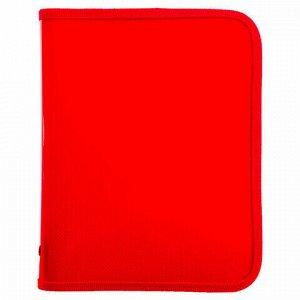 Папка для тетрадей А5 ПИФАГОР, пластик, молния вокруг, один тон, красная, 228226