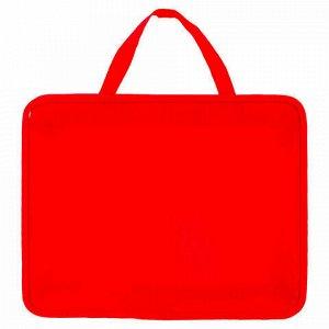 Папка на молнии с ручками ПИФАГОР, А4, пластик, молния сверху, однотонная красная, 228232