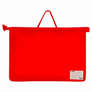 Папка на молнии с ручками ПИФАГОР, А4, пластик, молния сверху, однотонная красная, 228234