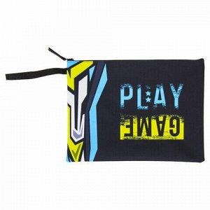 """Папка для тетрадей BRAUBERG, А4, 1 отделение, ткань, молния сверху, """"Play Game"""", 229406"""