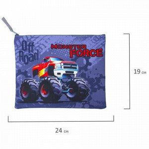 """Папка для тетрадей BRAUBERG, А5, 1 отделение, ткань, молния сверху, """"Monster Force"""", 229410"""