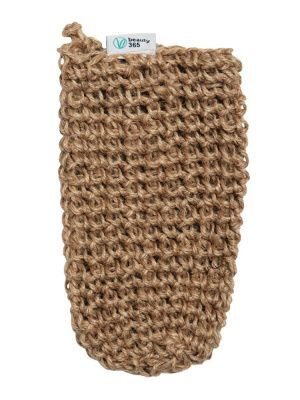 Мочалка-варежка кессе джутовая натуральная