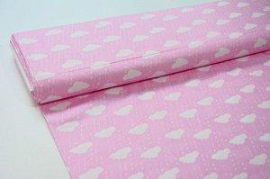 Ткань Сатин - Облака на розовом фоне 0,5*1,6м