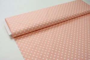 Ткань Сатин - Белые звезды на персиковом фоне 0,5*1,6м