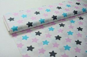 Ткань Сатин - Голубые/розовые звёзды на белом фоне 0,5*1,6м