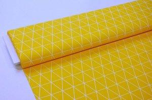 Ткань сатин - Белые треугольники на жёлтом фоне 0,5*1,6м