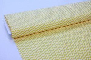 Ткань сатин - Жёлтый зигзаг на белом фоне 0,5*1,6м