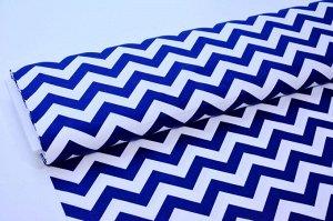 Ткань сатин - Синий зигзаг на белом фоне 0,5*1,6м