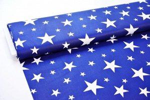 Ткань сатин - Белые звёзды на синем фоне 0,5*1,6м