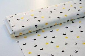 Ткань сатин - Чёрные и жёлтые короны на белом фоне 0,5*1,6м