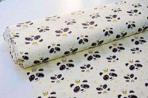 Ткань сатин - Панды с коронами 0,5*1,6м